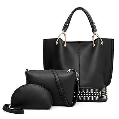 cheap Shoes & Bags-Women's Zipper PU Leather Bag Set Bag Sets Solid Color White / Black / Red