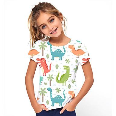 billige BarnekolleksjonUnder $8.99-Børn Pige Basale Ferie Dinosaur Dyr Trykt mønster Kortærmet T-shirt Beige