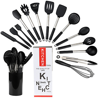 cheap Kitchen & Dining-Silicone Kitchen Utensils Set with Bucket Non-stick Heat Resistant Kitchen Cookware with Stainless Steel Handle 15 Pcs