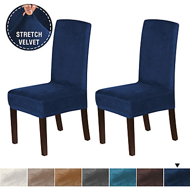 cheap Home Textiles-1 Set of 2 Pieces Velvet Dining Chair Covers Stretch Chair Covers for Dining Room Parson Chair Slipcovers Chair Protectors Covers Dining Soft Thick Solid Velvet Fabric Washable