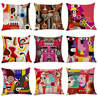 cheap Decorative Pillows-9 pcs Linen Pillow Cover, Abstract Printing Art Pattern Square Traditional Classic