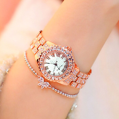 cheap Diamond Watches-Women's Quartz Watches Classic Fashion Silver Gold Rose Gold Alloy Chinese Quartz Rose Gold Gold Silver Casual Watch Imitation Diamond 1 pc Analog One Year Battery Life