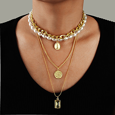 cheap Necklaces-Women's Pendant Necklace Necklace Layered Necklace Stacking Stackable Lucky Classic Vintage Trendy Fashion Imitation Pearl Chrome Gold 61 cm Necklace Jewelry 1pc For Party Evening Masquerade Street