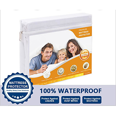 cheap Sheet Sets & Pillowcases-Mattress Protector Fitted Sheet Waterproof Hypoallergenic Deep Pocket Fitted Sheet 100%Waterproof Vinyl Free Anti-Dust Mite and Soft Breathable Single/Full/Queen/King (1 pc)