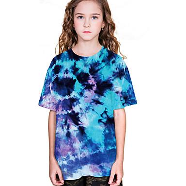 billige BarnekolleksjonUnder $8.99-Børn Pige Gade Batikfarvet Kortærmet T-shirt Blå