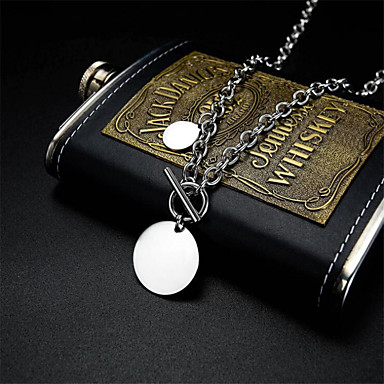 cheap Men's Necklaces-Men's Pendant Necklace Classic Flower Fashion Titanium Steel Silver 50 cm Necklace Jewelry For Anniversary Festival