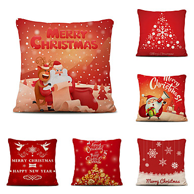 cheap Pillow Covers-Set of 6 Christmas Pillow Covers Cotton Linen Santa Tree Reindeer Holiday Christmas Decoration