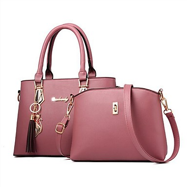 cheap Bags-Women's Zipper PU Leather Bag Set Bag Sets Solid Color Earth Yellow / Wine / Black