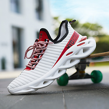 cheap Men's Athletic Shoes-Men's Summer / Fall Casual Daily Sneakers Walking Shoes Tissage Volant Breathable Non-slipping Shock Absorbing Dark Red / White / Yellow / Orange / Black