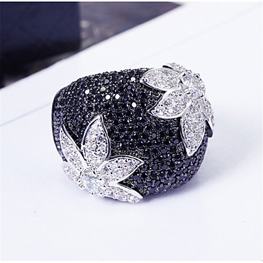 cheap Jewelry & Watches-Women's Ring Belle Ring AAA Cubic Zirconia 1pc Black Copper Silver-Plated Irregular Statement Luxury Party Evening Gift Jewelry Geometrical Wearable