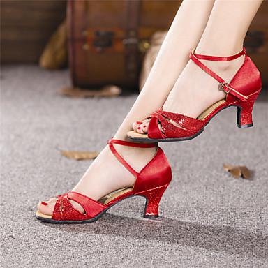 povoljno Cipele za ples-Žene Cipele za latino plesove Saten Štikle Kubanska potpetica Moguće personalizirati Plesne cipele Crvena / Zlato / Srebro