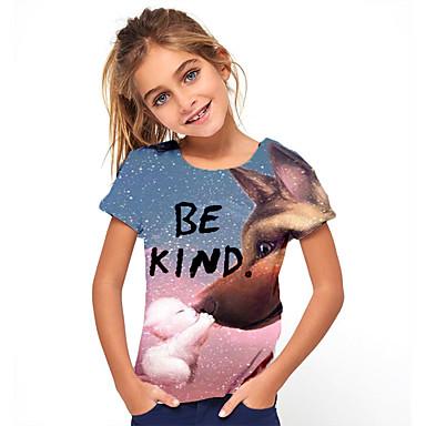 abordables Hauts Filles-Enfants Fille Basique Animal Imprimé Manches Courtes Tee-shirts Bleu