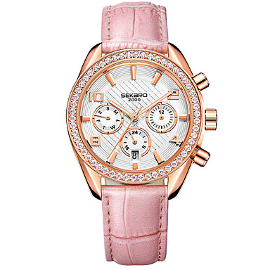 cheap Mechanical Watches-Women's Mechanical Watch Elegant Fashion Genuine Leather Automatic self-winding White Red Blushing Pink Water Resistant / Waterproof Adorable Lovely Analog