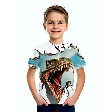 cheap Boys' Tops-Kids Boys' Basic jurassic period Dinosaur Animal Print Short Sleeve Tee  jurassic period Blue