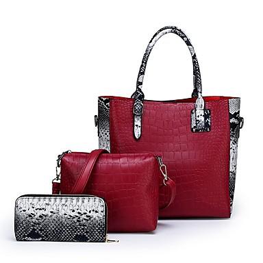 cheap Bags-Women's Zipper PU Leather Bag Set Bag Sets Solid Color Black / Red / Brown