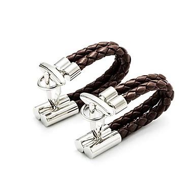 cheap Men's Cufflinks-Men's Cufflinks Braided Casual Brooch Jewelry Coffee For Daily Wear
