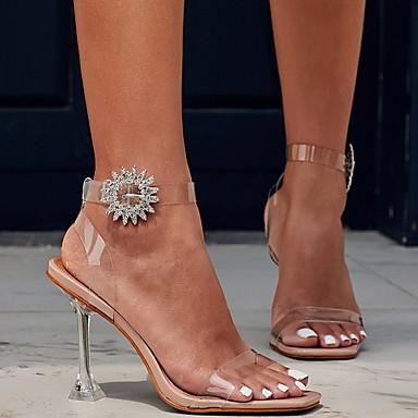 お買い得  レディースサンダル-女性用 サンダル 透明な靴 夏 スティレットヒール オープントゥ 日常 PUレザー アーモンド