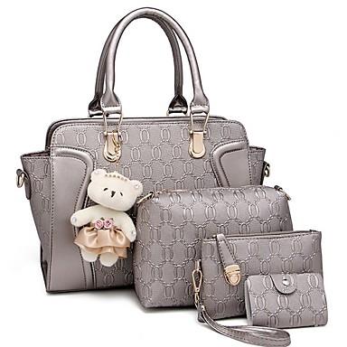 cheap Bags-Women's Zipper PU Leather Bag Set Bag Sets Solid Color Wine / Black / Blue