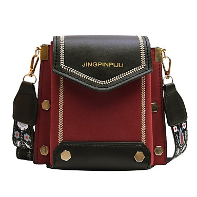 cheap Crossbody Bags-Women's Bags PU Leather Crossbody Bag Zipper Color Block for Daily Red / Blushing Pink / Green