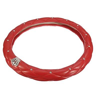 cheap Steering Wheel Covers-38 cm Diameter PU Leather Diamond Crystal Crown Styling Car Steering Wheel Covers