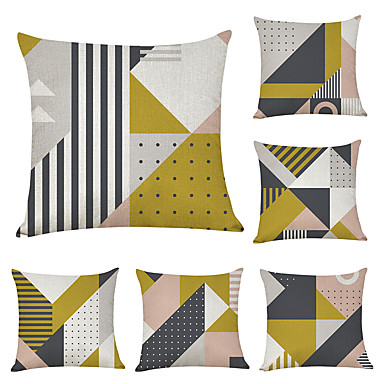 cheap Decorative Pillows-6 pcs Linen Pillow Cover, Geometric Geometic Casual Modern Square Traditional Classic