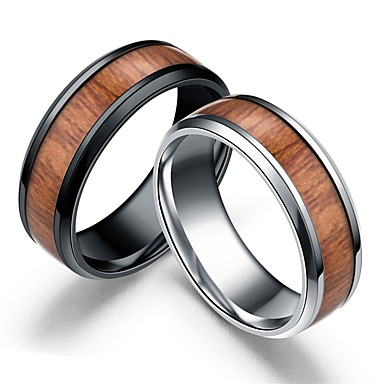 cheap Rings-Men Women Ring Black Silver Wooden Stainless Steel Round European Jewelry Two Stone