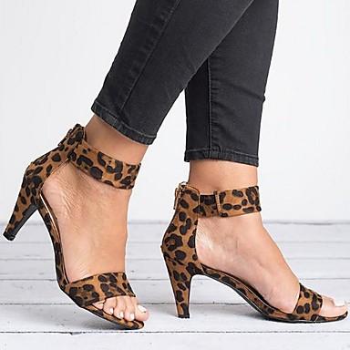 cheap Women's Sandals-Women's Sandals Summer Stiletto Heel Open Toe Daily PU Wine / Black / Red