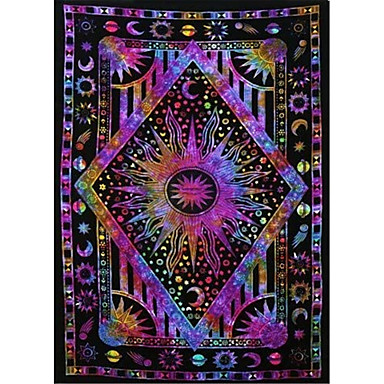 cheap Bohemian Tapestries-Garden Theme / Bohemian Theme Wall Decor Polyester Contemporary / Bohemia Wall Art Wall Tapestries Decoration Psychedelic celestial sun moon tapestry Planet Bohemian tapestry wall hanging dormitory de