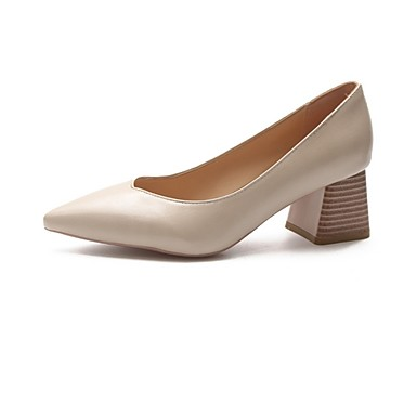 cheap Women's Shoes-Women's Heels Summer Block Heel Pointed Toe Daily Solid Colored PU Light Brown / Black / Pink
