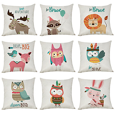 cheap Decorative Pillows-9 pcs Linen Pillow Cover, Cartoon Animals Casual Modern Square Traditional Classic