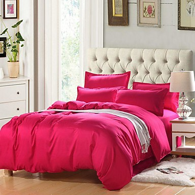 cheap Duvet Covers-Solid Color Duvet Cover Set with Zipper Closure, Ultra Soft Hypoallergenic 4 Pieces Comforter Cover Sets