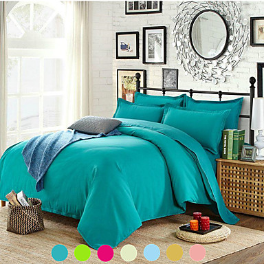 cheap Home Textiles-Solid Color Duvet Cover Set with Zipper Closure, Ultra Soft Hypoallergenic 4 Pieces Comforter Cover Sets