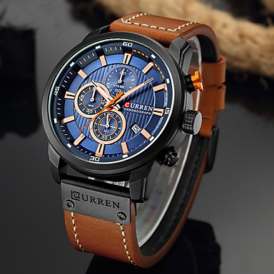 cheap Sport Watches-CURREN Men's Sport Watch Quartz Formal Style Classic Water Resistant / Waterproof PU Leather Analog - White+Sky Blue Black Blue / Altimeter / Calendar / date / day / Chronograph / Large Dial