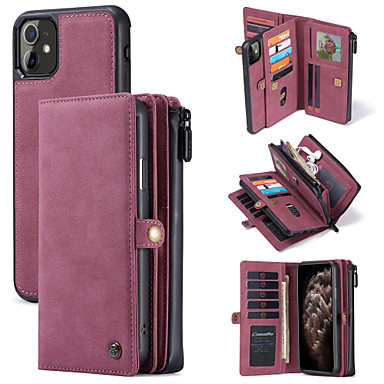 cheap iPhone Cases-CaseMe New Multifunctional Business Luxury Leather Magnetic Flip Case For iPhone 11 / 11 Pro / 11 Pro Max With Wallet Card Slot Stand 2-in-1 Detachable Wallet Phone Cover