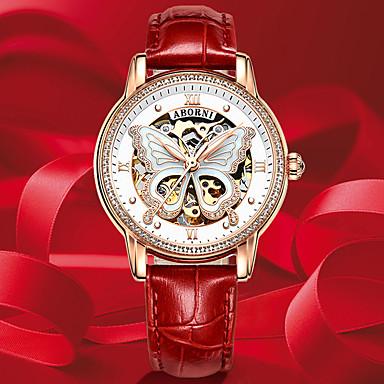 olcso Mechanikus órák-Női mechanikus Watch Automatikus önfelhúzós Pillangó stílus Stílusos Pillangó Vízálló Rozsdamentes acél Valódi bőr Analóg - Fehér Rubin Arcpír rózsaszín