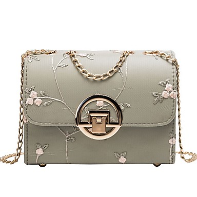 cheap New Arrivals-Women's Bags PU Leather Crossbody Bag Zipper Embroidery for Daily Black / Green / Beige