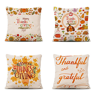 cheap Pillow Covers-Set of 4 Farm Harvest Thanksgiving Theme Pillow Case Cushion Cover Lemon Summer Linen Home 18x18
