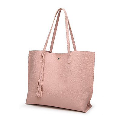 cheap Bags-Women's PU Leather Tote Leather Bags Solid Color Black / Blue / Blushing Pink
