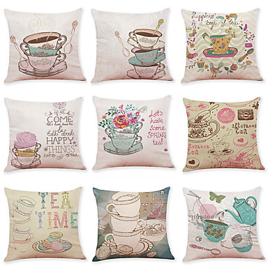 cheap Decorative Pillows-9 pcs Linen Pillow Cover, Food Graphic Prints Casual Modern Square Traditional Classic