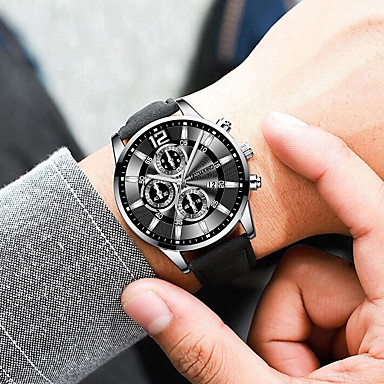 cheap Dress Classic Watches-Men's Dress Watch Quartz Modern Style Stylish Leather Black / Brown / Pool Calendar / date / day Casual Watch Analog Casual Big Face - Black / Silver Black+Gloden Black One Year Battery Life