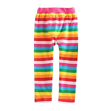 Baby & Kids-Kids Toddler Girls' Basic Red Striped Rainbow Lace up Leggings Rainbow