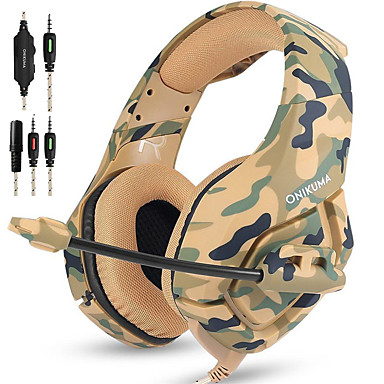 cheap Headphones & Earphones-ONIKUMA K1B Gaming Headset Over Ear 3.5mm Headphones with Mic Noise Cancelling Deep Bass Surround Stereo for PS4 New Xbox one PC Mac Laptop, Smart Phones, Nintendo Switch-Camouflage