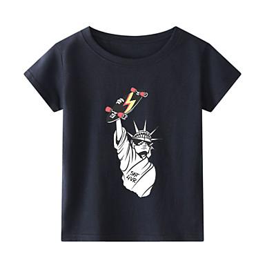 cheap Boys' Tops-Kids Toddler Boys' Chinoiserie Animal Print Short Sleeve Tee White