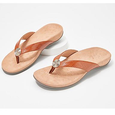 cheap Women's Shoes-Women's Slippers & Flip-Flops 2020 Summer / Fall Flat Heel Open Toe Casual Daily Home Faux Leather Light Brown / Leopard / White