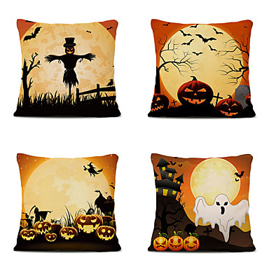 cheap Throw Pillow Covers-Halloween Party Halloween Decor Horror Ghost Set of 4 Cartoon Halloween Linen Square Decorative Throw Pillow Cases Sofa Cushion Covers 18x18