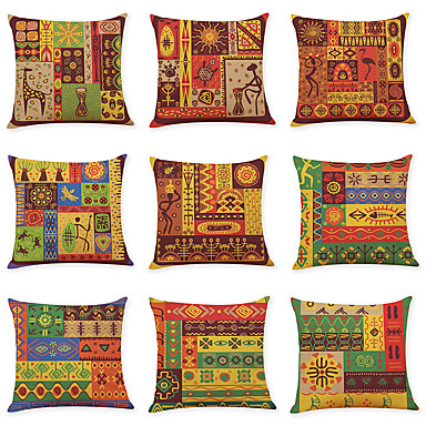 cheap Decorative Pillows-9 pcs Linen Pillow Cover, Indian Style Square Traditional Classic