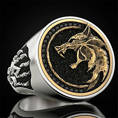cheap Men's Rings-Men's Ring 1pc Champagne Silver Copper Round Fashion Anniversary Street Jewelry Vintage Style Wolf Head Environmental