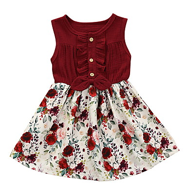 cheap Clearance-Baby Girls' Basic Floral Sleeveless Dress Wine