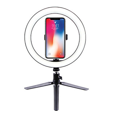 cheap Camera & Photo-26cm Dimmable Cold Warm LED Studio Camera Ring Light Photo Phone Video Light Lamp With Tripods Ring Table Fill Light