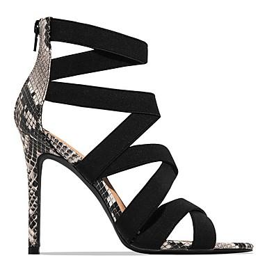 cheap New Arrivals-Women's Sandals Summer Stiletto Heel Open Toe Daily PU Almond / Black / Animal Print